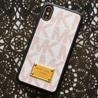 マイケルコース(Michael Kors)の箱なし iPhoneX XS ホワイト/レッド ハードケース モノグラム 黒縁(iPhoneケース)