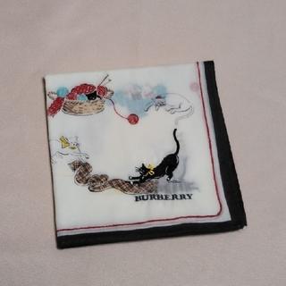 BURBERRY - 美品!!バーバリー♡大判ハンカチ猫 刺繍