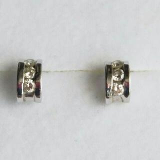 【K14WG】◆ダイヤモンド0.05ct×2(計0.10)付 シンプルピアス(ピアス)