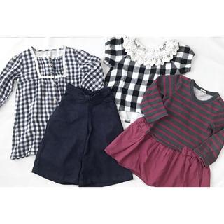 ニシマツヤ(西松屋)の子供服 4点まとめ 90 女の子 ワンピース パンツ トップス チェック(ワンピース)