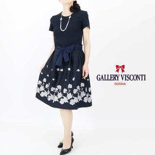 GALLERY VISCONTI - フラワー刺繍使いカットソー切り替えワンピース