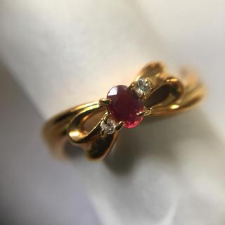 K18 ダイヤモンド ルビー リボンリング 9号(リング(指輪))