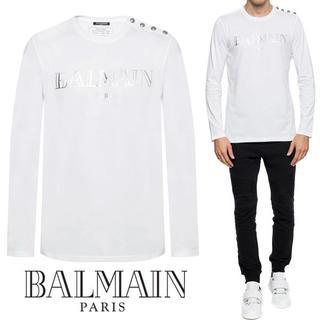 バルマン(BALMAIN)の【3】BALMAINショルダーボタン クルーネック ホワイトロンTサイズL(Tシャツ/カットソー(七分/長袖))