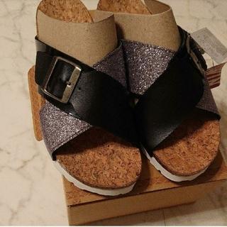 EDWIN - エドウィン サンダル 23センチ   新品 タグつき   黒 シルバー 靴