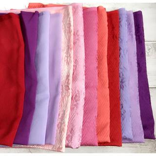【手染め】 正絹 はぎれ 12枚 赤ピンク紫系(生地/糸)