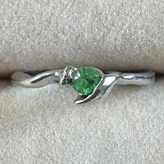 (104)一粒グリーンビジューのリング シルバー ヴィンテージ(リング(指輪))
