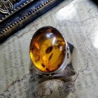 インディアンジュエリー ビンテージリング 琥珀 シルバー 24号(リング(指輪))