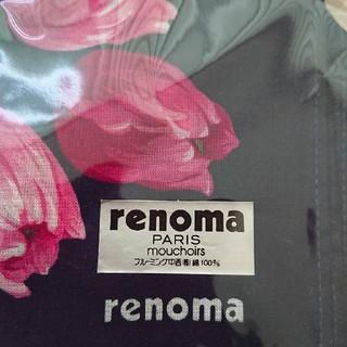 レノマ(RENOMA)のrenoma PARIS ネイビー チューリップ柄 ハンカチ(ハンカチ)