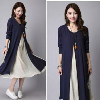 長袖レイヤードワンピース ブルー XLサイズ(ひざ丈ワンピース)