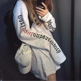 超ロングスリーブ!! スリーブメッセージロングTシャツ ホワイト L(Tシャツ(長袖/七分))