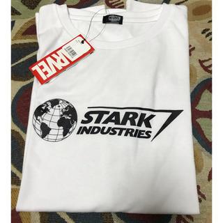 マーベル(MARVEL)のTシャツ  スタークインダストリーズ  Lサイズ 白(Tシャツ/カットソー(半袖/袖なし))