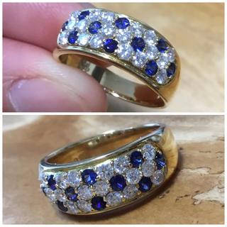 キラキラ✨ゴールド✨サファイア&ダイヤモンドリング 指輪 約15号(リング(指輪))