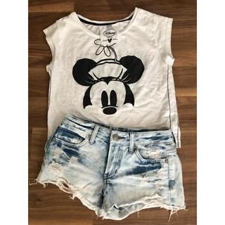 Disney - ディズニー Tシャツ 白Tシャツ カットソー ミニーちゃんティー ちびてぃ