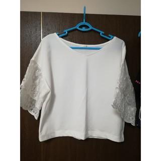 ジーユー(GU)のGU フラワーレーストップス ホワイト(シャツ/ブラウス(半袖/袖なし))