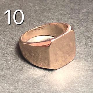★新品 印台ガレッジリング  ゴールドリング 鏡面 スクエア 男性 リング 指輪(リング(指輪))