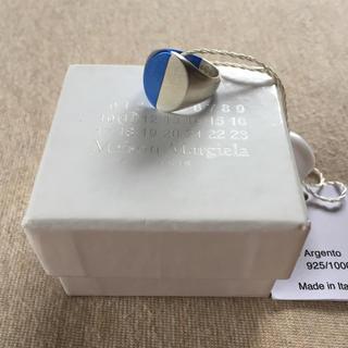 マルタンマルジェラ(Maison Martin Margiela)の19AW新品S マルジェラ ツートーン シグネットリング シルバー ブルー 今期(リング(指輪))