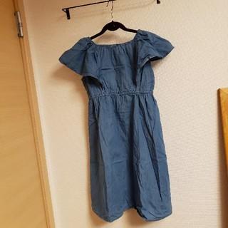 ジーユー(GU)の美品 GU 子供 女の子 デニムワンピース 150cm(ワンピース)