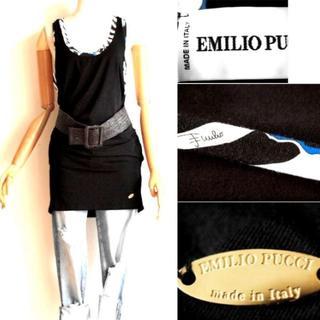 エミリオプッチ(EMILIO PUCCI)の⭐️SALE⭐️Emilio Pucci金プレート付チュニックワンピ黒(ミニワンピース)