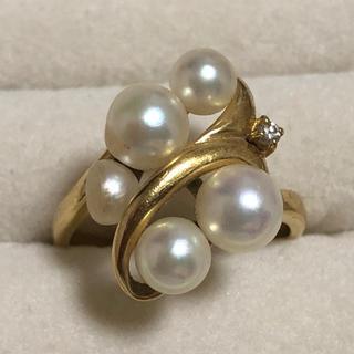 ひやんともちさま専用k18 パール ダイヤモンド リング(リング(指輪))