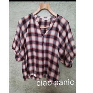 チャオパニック(Ciaopanic)のCIAOPANIC/ボタンシャツ/ガーゼ素材/チェック/sizeフリー (シャツ/ブラウス(半袖/袖なし))