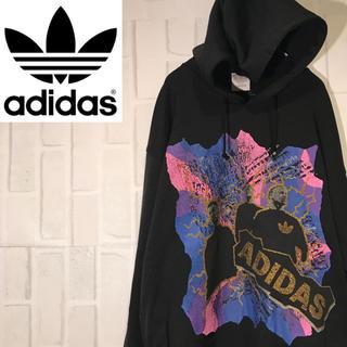 アディダス(adidas)の【激レア】80s アディダス パーカー ブラック ワンポイントロゴ  デサント(パーカー)
