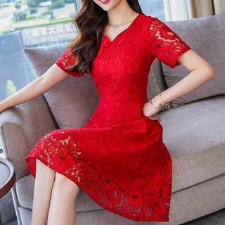 ドレス ワンピース 総レース フィットアンドフレア 半袖 膝丈 赤XL(ミディアムドレス)