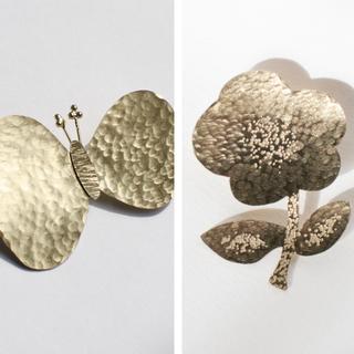 ミナペルホネン(mina perhonen)の真鍮ブローチ ちょうちょ choucho ハンドメイド オリジナル(ブローチ/コサージュ)
