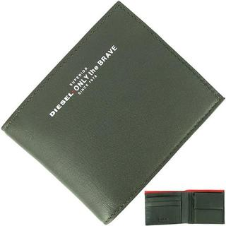 【新品】 ディーゼル 二つ折り財布 ロゴプリント カーキ