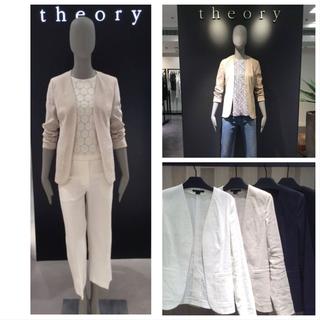 セオリー(theory)の美品 ノーカラージャケット 0サイズ ベージュ(ノーカラージャケット)