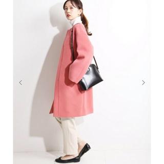 IENA - 新品タグ付 イエナ ラムウールノーカラーコート 38 ピンク 45,360円完売