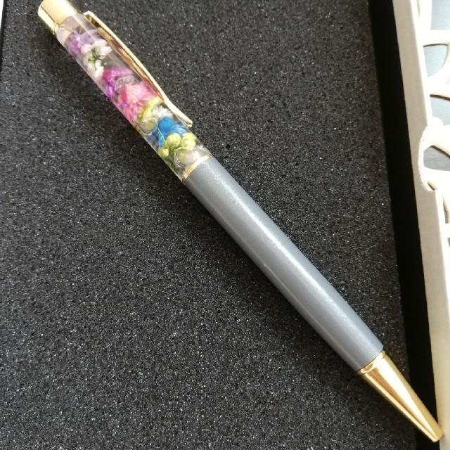 ハーバリウムボールペン(グレーボディ♡マルチカラーフラワー) ハンドメイドのフラワー/ガーデン(ドライフラワー)の商品写真