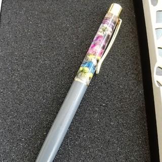 ハーバリウムボールペン(グレーボディ♡マルチカラーフラワー)(ドライフラワー)