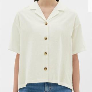 ジーユー(GU)のGU リネンブレンドオープンカラーシャツ(半袖)(シャツ/ブラウス(半袖/袖なし))