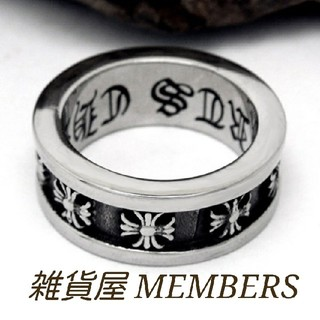 送料無料18号クロムシルバーサージカルステンレスクロス十字架スペーサーリング指輪(リング(指輪))