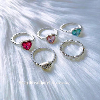 ♥️ Vintage Silver Heart Gem Stone Rings(リング(指輪))