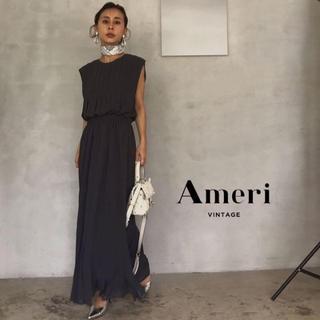 アメリヴィンテージ(Ameri VINTAGE)の19SS 新品 AMERI PLEATS STITCH DRESS【ブラック】(ロングワンピース/マキシワンピース)