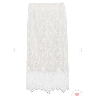 snidel - パターンレースタイトスカート WHT