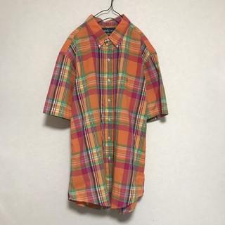 ラルフローレン(Ralph Lauren)のラルフローレン 半袖シャツ チェック マルチカラー ビックシルエット オレンジ(シャツ)