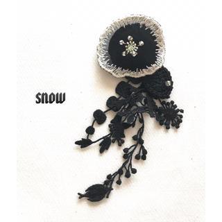 ミナペルホネン(mina perhonen)のミナペルホネン jelly flower2wayブローチ  黒(ブローチ/コサージュ)