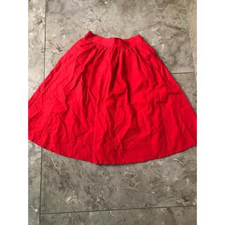 赤 膝丈スカート(ひざ丈スカート)