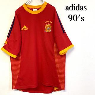 adidas - 美品 90's adidas 刺繍ロゴ×3ライン Tシャツ