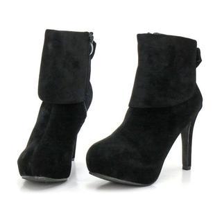 新品 送料込 大きいサイズ バックリボン ショートブーツ ブラック 26cm(ブーツ)
