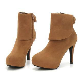 新品 送料込 大きいサイズ バックリボン ショートブーツ キャメル 26cm(ブーツ)