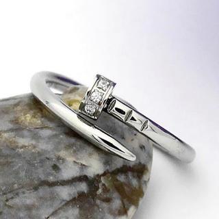 釘モチーフ シルコニア CZダイヤ リング 指輪 ステンレス ゴールド シルバー(リング(指輪))