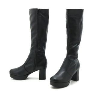 新品 送料込 大きいサイズ ストレッチロングブーツ ブラック 26cm(ブーツ)