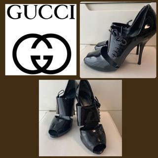 Gucci - GUCCI ブラックパテント レースアップ ブーティ