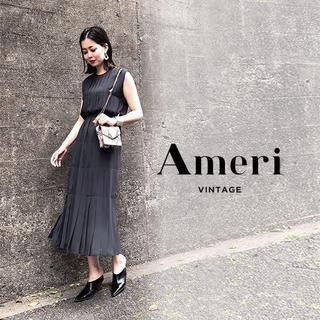 アメリヴィンテージ(Ameri VINTAGE)の19SS 新品 AMERI PLEATS STITCH DRESS【ブラック(ロングワンピース/マキシワンピース)