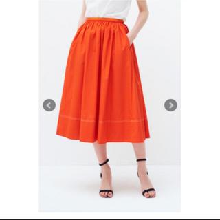 ドゥロワー(Drawer)のyori  カラーギャザー スカート オレンジ(ひざ丈スカート)