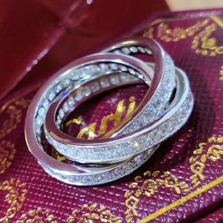 カルティエ(Cartier)のAu750 Cartier リング シルバー クリスタル飾り 正規品 刻印ロゴ (リング(指輪))
