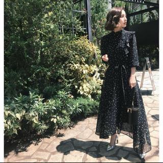 アメリヴィンテージ(Ameri VINTAGE)のameri vintage POWER SHOULDER FRILL DRESS(ロングワンピース/マキシワンピース)